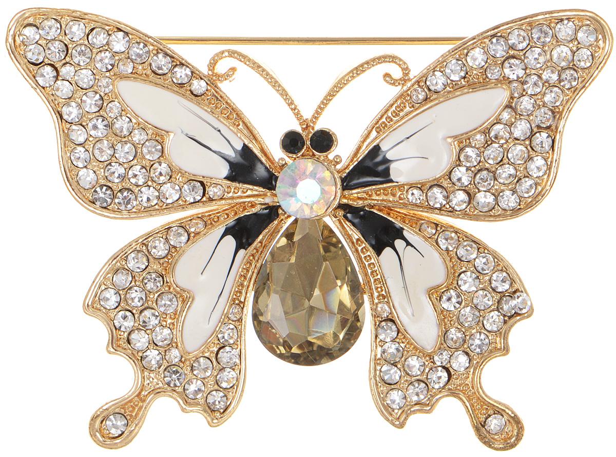 Брошь женская Fashion House, цвет: золотистый. FH29108FH29108Брошь Fashion House выполнена из металла в форме бабочки и инкрустирована пластиком и сверкающими стразами. Аксессуары всегда смотрятся интересно и свежо, вы будете улыбаться каждый раз, когда ваш взгляд будет падать на маленькие крылья или крохотные усики. Прозрачные кристаллы в сочетании с интересной формой рождают эффектное украшение, которое подойдет для любого торжественного случая, когда надо добавить в образ немного блеска. Этот роскошный аксессуар сделает любую вашу вещь более яркой и элегантной.