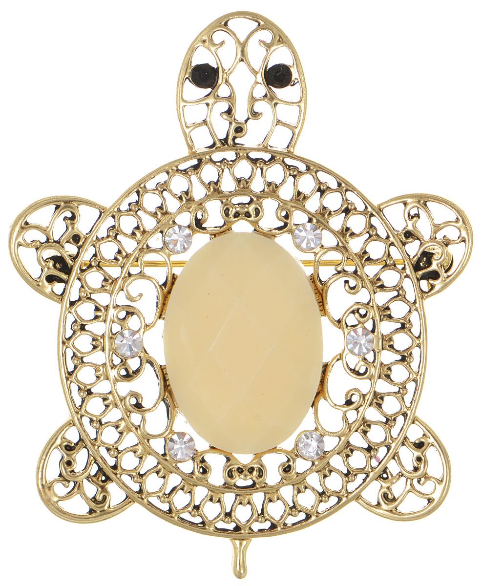 Брошь Fashion House, цвет: золотой. FH29823FH29823Брошь Fashion House выполнена из металла в форме черепахи и инкрустирована пластиком и сверкающими стразами. Аксессуары с животными всегда смотрятся интересно и свежо, вы будете улыбаться каждый раз, когда ваш взгляд будет падать на маленькие золотистые лапы или крохотный хвостик. Прозрачные кристаллы в сочетании с интересной формой рождают эффектное украшение, которое подойдет для любого торжественного случая, когда надо добавить в образ немного блеска. Этот роскошный аксессуар сделает любую вашу вещь более яркой и элегантной.
