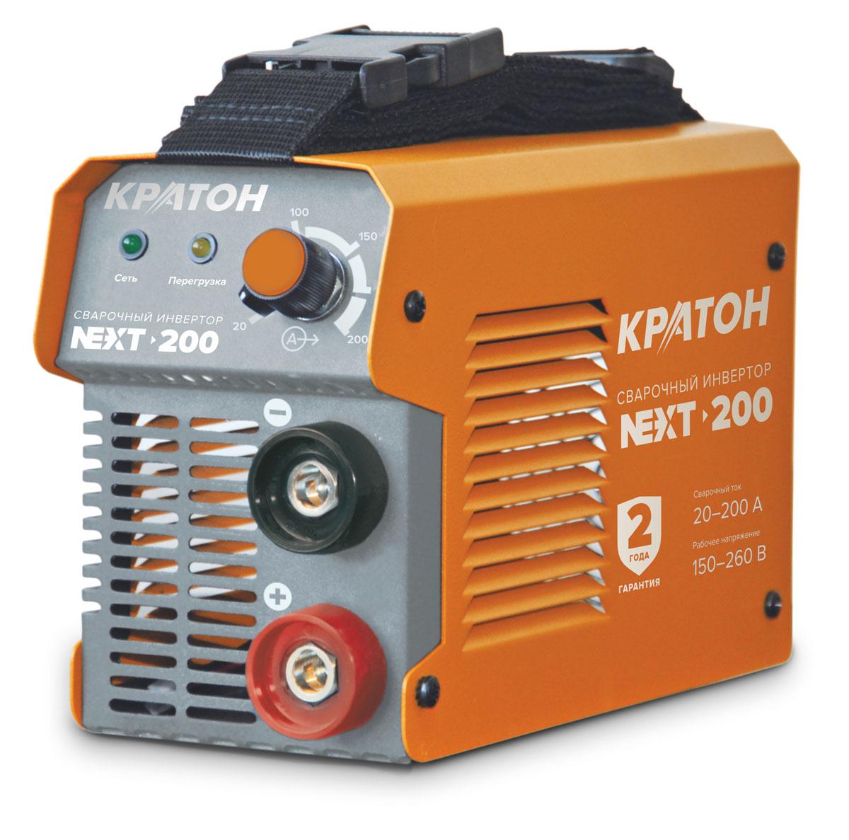 Инвертор сварочный Кратон NEXT-2003 04 02 015Конструктивные особенности: Напряжение питания: 220 v Частота тока, Гц 50 Максимальная потребляемая мощность, кВт 7,7 Род сварочного тока: постоянный Выходной сварочный ток, А 20–200 Напряжение на холостом ходу, В 65 Сварочный цикл (ПВ), % / А при температуре окружающего воздуха: +20 °С 60/200 Диаметр используемых электродов, мм 1,6–5,0 Масса, кг 3,6.