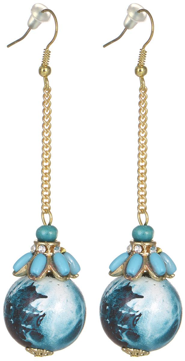 Серьги женские Fashion House, цвет: золотой, синий. FH28640