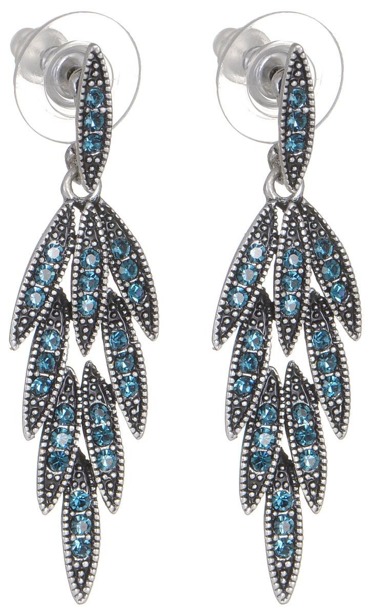 Серьги женские Fashion House, цвет: серебро, темно-синий. FH29562FH29562Серьги Fashion House выполнены из металла с покрытием черненым серебром и инкрустированы сверкающими стразами. Изделие оснащено удобным замком-гвоздиком. Серьги в форме листочков смотрятся в ушках модницы изящно и стильно и выглядят настоящим ювелирным сокровищем. Их форма выгодно подчеркивает линии скул, овал лица и цвет глаз.