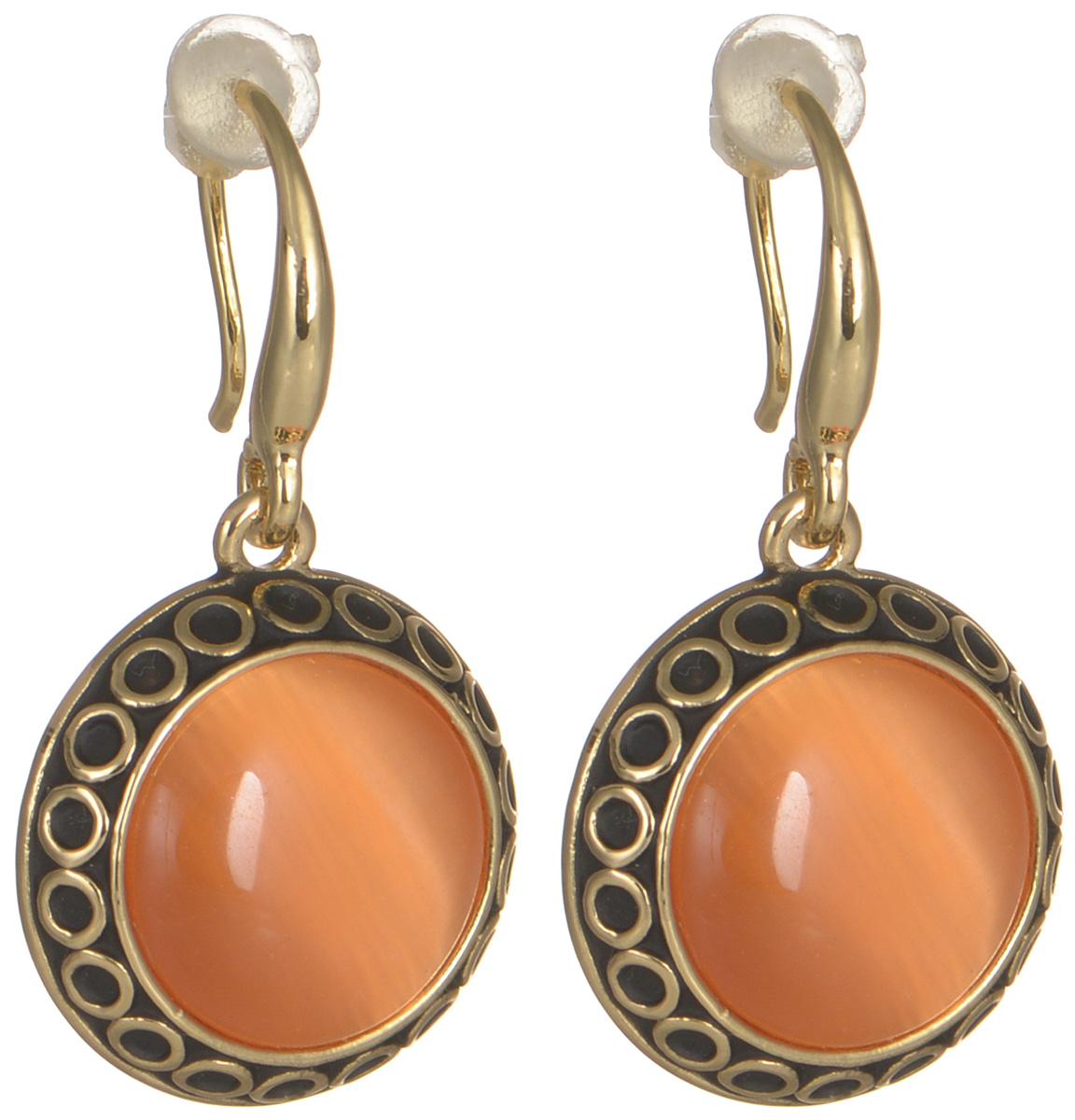 Серьги женские Fashion House, цвет: золото, рыжий. FH29912FH29912Серьги Fashion House выполнены из металла с позолотой и чернением, инкрустированы яркими искусственными камнями. Дизайн этого изделия отличается классическими и аристократичными чертами. Аккуратная форма, блеск прозрачных камней и удобные замочки-петли - все это сошлось воедино в одном украшении. Эти серьги - прекрасный выбор, если вы хотите выглядеть женственно и элегантно, но при этом вам нужно создать повседневный образ.