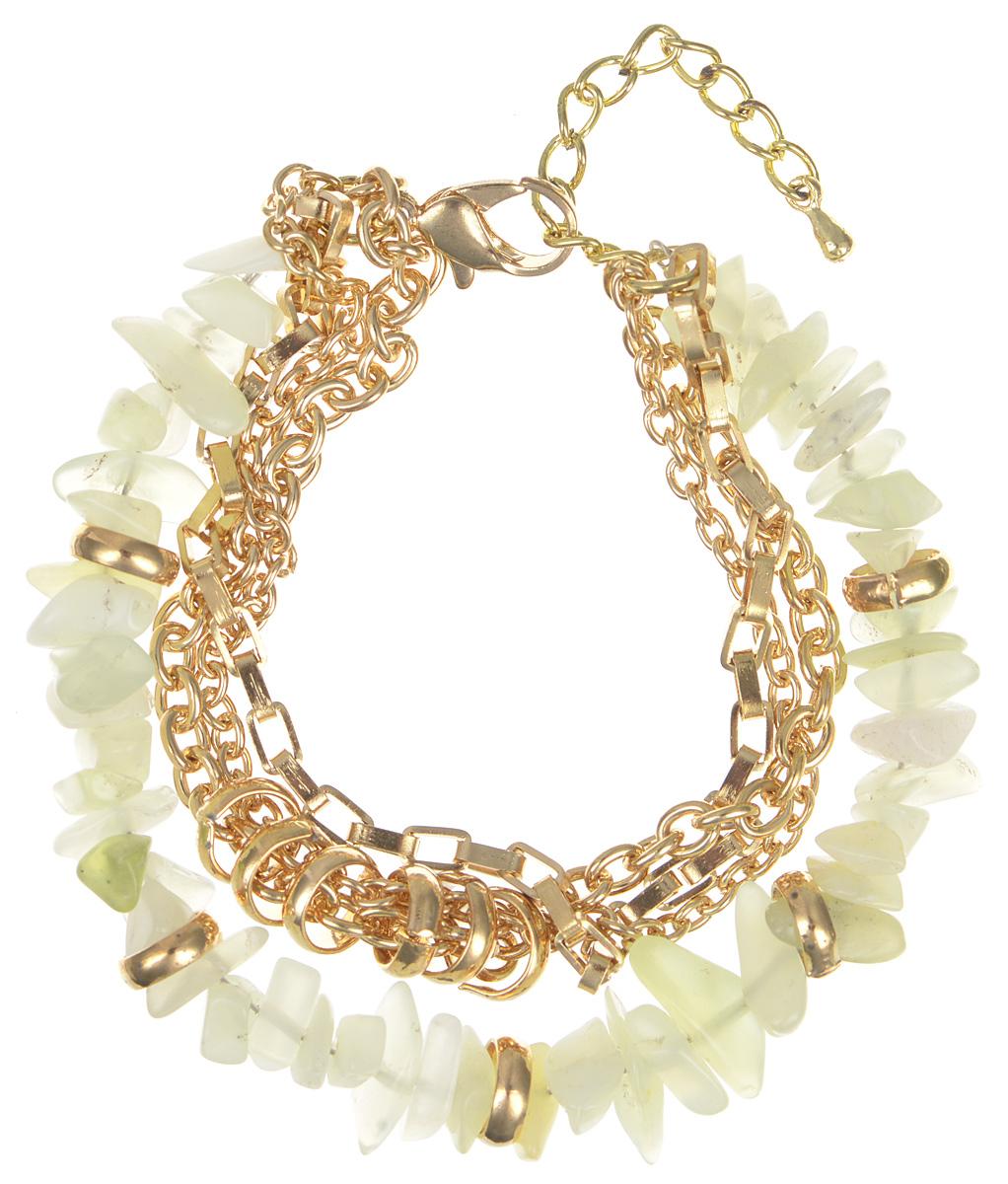 Браслет женский Fashion House, цвет: золотой, светло-зеленый. FH29058FH29058Роскошный многорядный браслет Fashion House выполнен из камня и тонких металлических позолоченных цепочек и застегивается на удобный замочек-карабин с цепочкой. Полупрозрачные камни неприхотливы к выбору гаммы наряда, поэтому этот браслет смело можно назвать универсальным украшением на каждый день. Он украсит ваше запястье и добавит великолепия вашему образу.