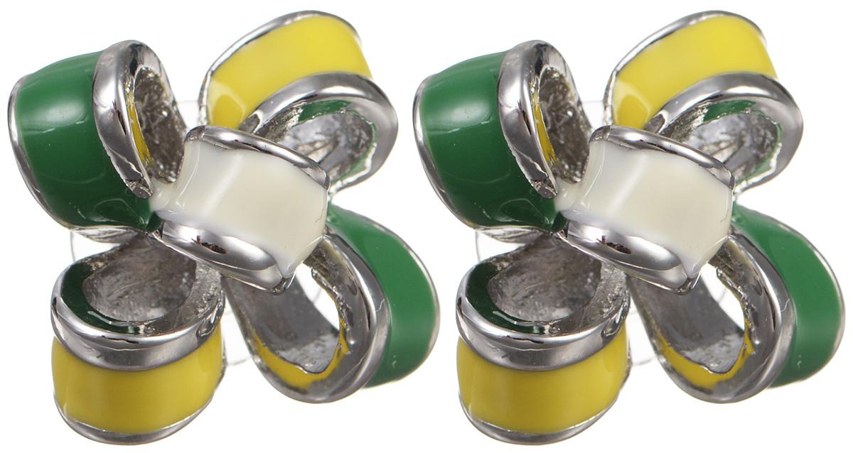 Серьги женские Fashion House, цвет: белый, желтый, зеленый. FH29160FH29160Серьги Fashion House выполнены из металла в форме изящных бантиков и покрыты разноцветной эмалью. Изделие оснащено удобным замком-гвоздиком. Серьги имеют мягкий глянцевый блеск, который будет благородно смотреться на любой моднице. Украшение настроит хозяйку на позитивный лад и будет гармонировать как с повседневным, так и с торжественным образом