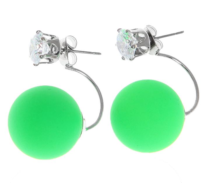Серьги-шары Офелия. Бусины зеленого цвета, прозрачные кристаллы, бижутерный сплав серебряного тона. Arrina, Гонконг20089660Двухсторонние серьги-шары Офелия. Бусины зеленого цвета,прозрачные кристаллы, бижутерный сплав серебряного тона. Arrina, Гонконг. Размер - 2,5 х 1,5 см. Серьги-шары - самый модный тренд в этом сезоне!