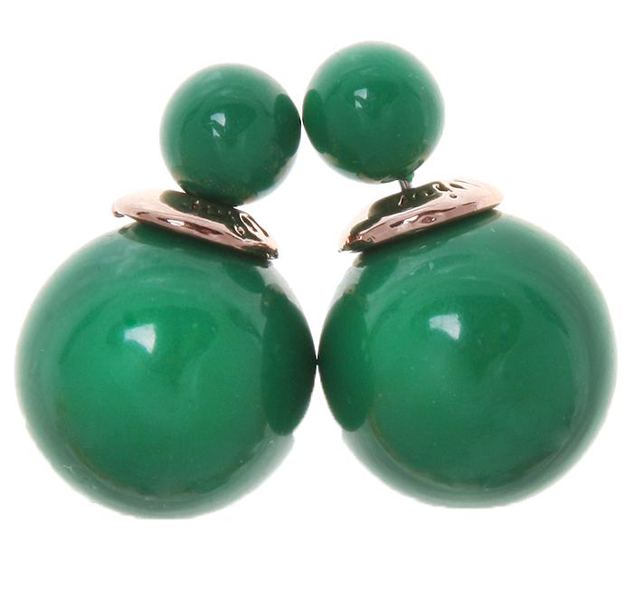 Серьги-шары Офелия. Бусины зеленого цвета, бижутерный сплав золотого тона. Arrina, ГонконгE3485-1Двухсторонние серьги-шары Офелия. Бусины зеленого цвета, бижутерный сплав золотого тона. Arrina, Гонконг. Размер - диаметр 1,5 см. Серьги-шары - самый модный тренд в этом сезоне!