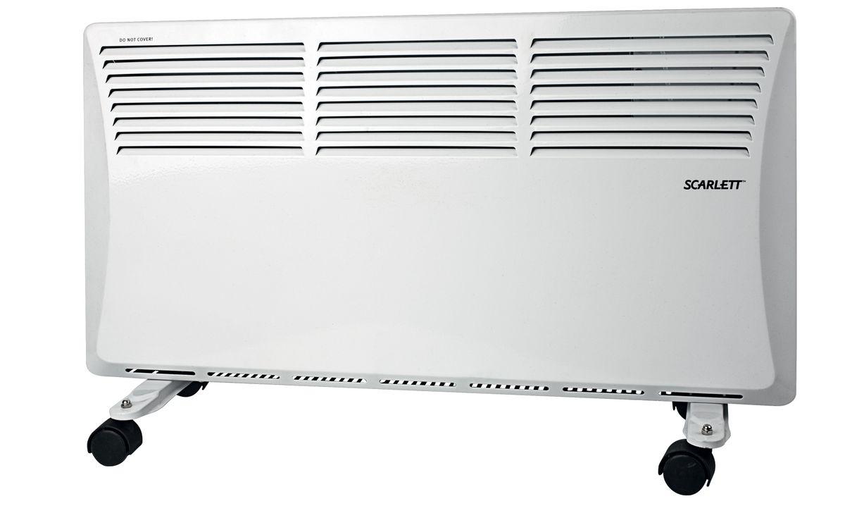 Scarlett SC-2151, White обогревательSC-2151Конвектор Scarlett SC-2151 представляет собой теплообменник с ТЭНом - электронагревателем, к которому поступает холодный воздух. После происходит процесс нагревания и по стальной трубке выходят теплые потоки воздушных масс. Принцип работы конвектора электрического заключается в безопасном нагревании воздуха, поступающего в прибор посредством конвекции.