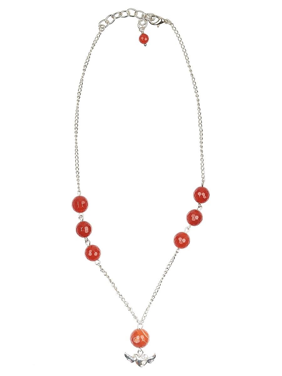 Ожерелье Polina Selezneva Шепот природы, цвет: коричневый. 001-1645001-1645Колье Шепот природы выполнен из сердолика, симметрично расположенного на тонкой цепочке из сплава серебристого цвета, в качестве завершающей детали выступает небольшая подвеска,расположенная в центре композиции.