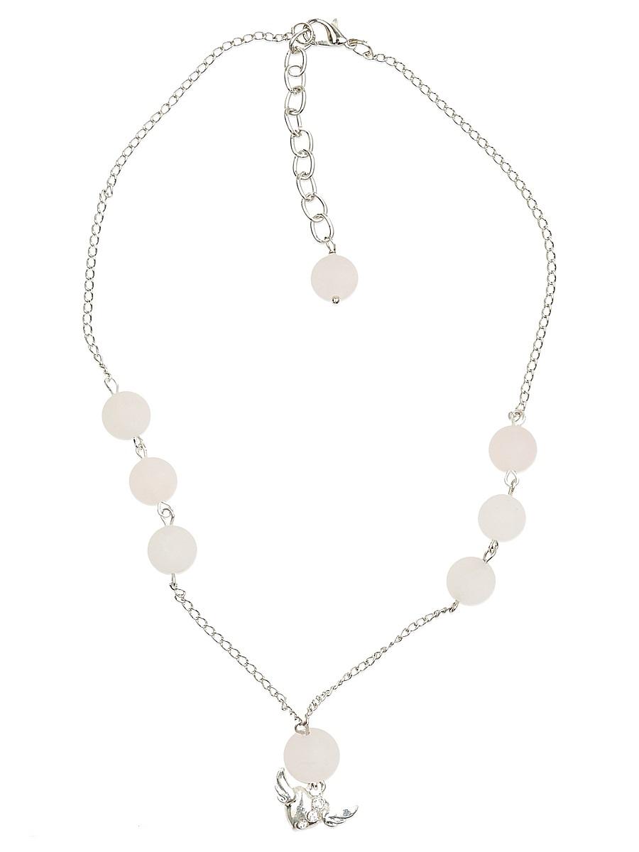 Ожерелье Polina Selezneva Шепот природы, цвет: бледно-розовый, бледно-бежевый. 001-1649001-1649Колье Шепот природы выполнен из розового кварца, симметрично расположенного на тонкой цепочке из сплава серебристого цвета, в качестве завершающей детали выступает небольшая подвеска, расположенная в центре композиции.