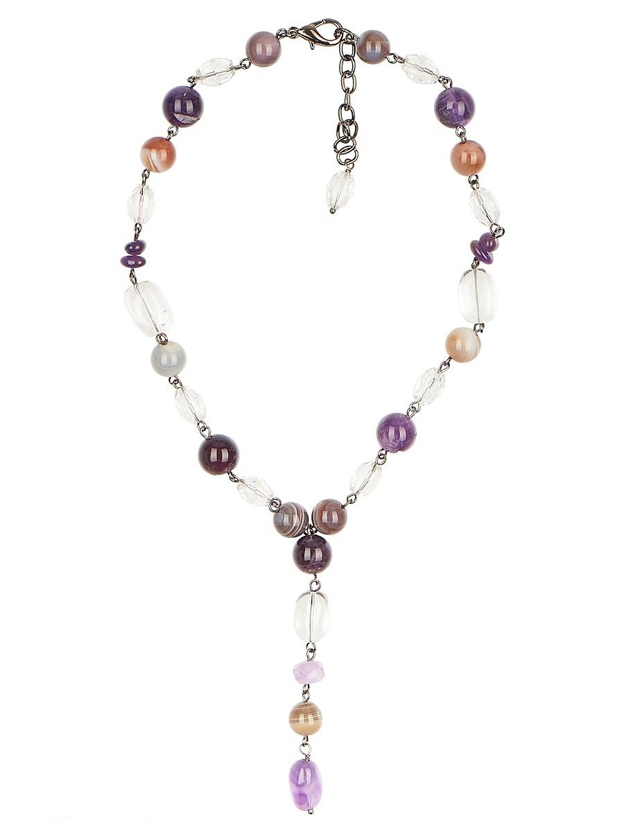 Ожерелье Polina Selezneva, цвет: фиолетовый, сиреневый, голубой, бежевый. 001-1707001-1707Колье выполнено из аметиста, агата, горного хрусталя, кристаллов и сплава.