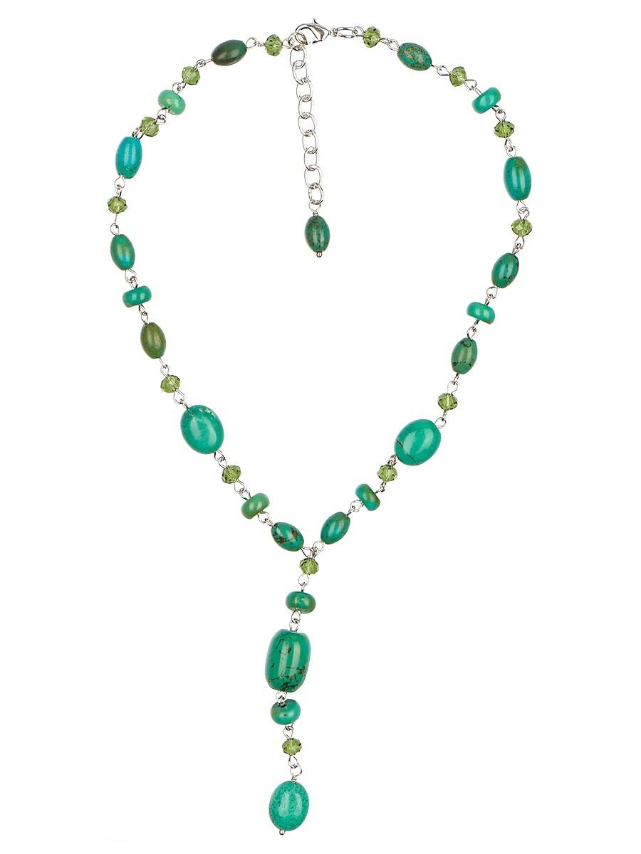 Ожерелье Polina Selezneva, цвет: зеленый. 001-1708001-1708Колье выполнено из бирюзы, кристаллов и сплава.