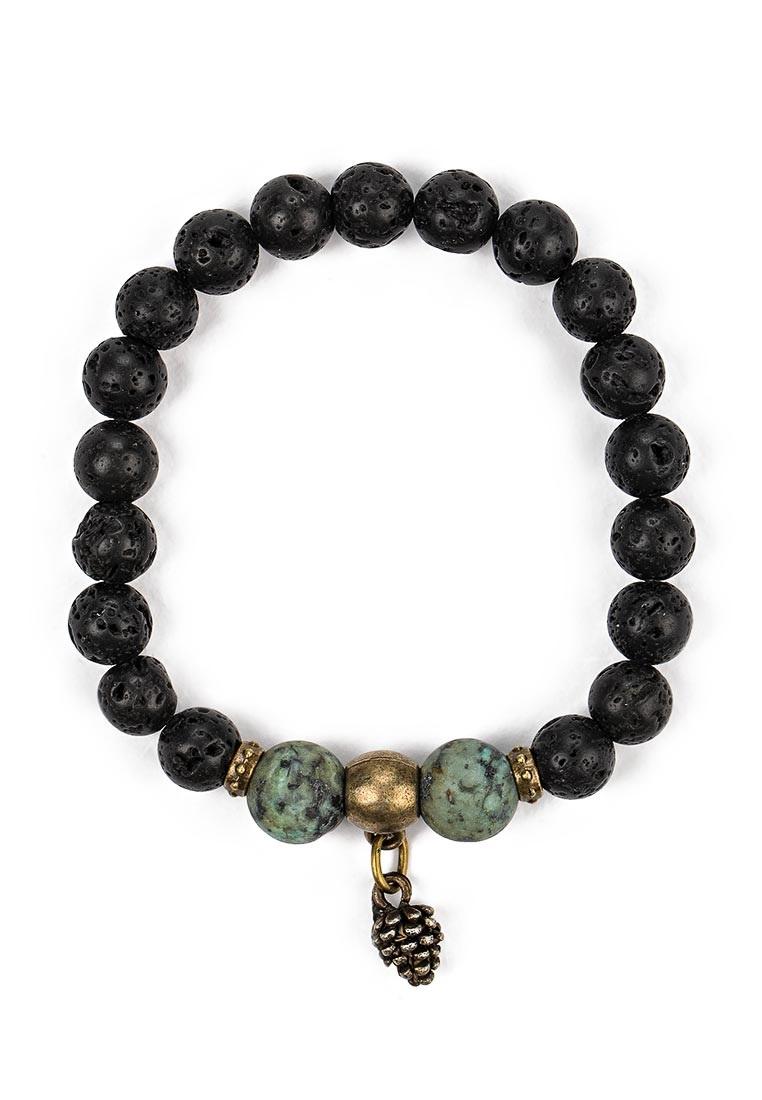 Браслет Polina Selezneva, цвет: черный, бирюзовый. 002-2939002-2939Браслет выполнен из лавы, африканской бирюзы и сплава.