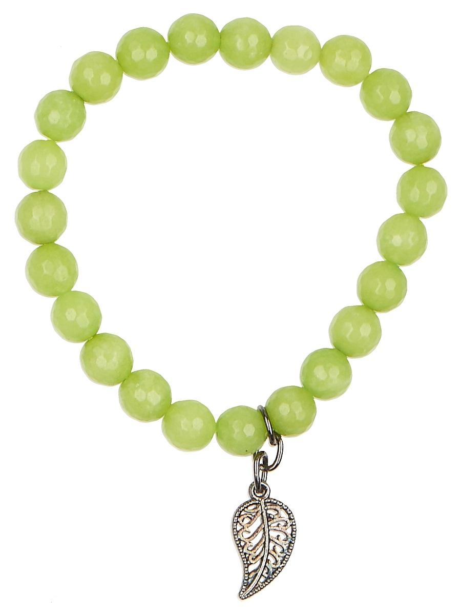 Браслет Polina Selezneva Зелень, цвет: салатовый. 002-2943002-2943Браслет Зелень выполнен из агата ярко-зеленого цвета, напоминающего молодую весеннюю зелень, по центру располагается подвеска-листик из сплава.