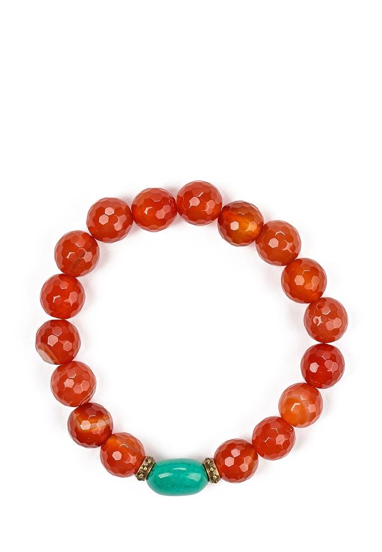 Браслет Polina Selezneva, цвет: коричневый, зеленый. 002-2944002-2944Браслет выполнен из сердолика, бирюзы и сплава.