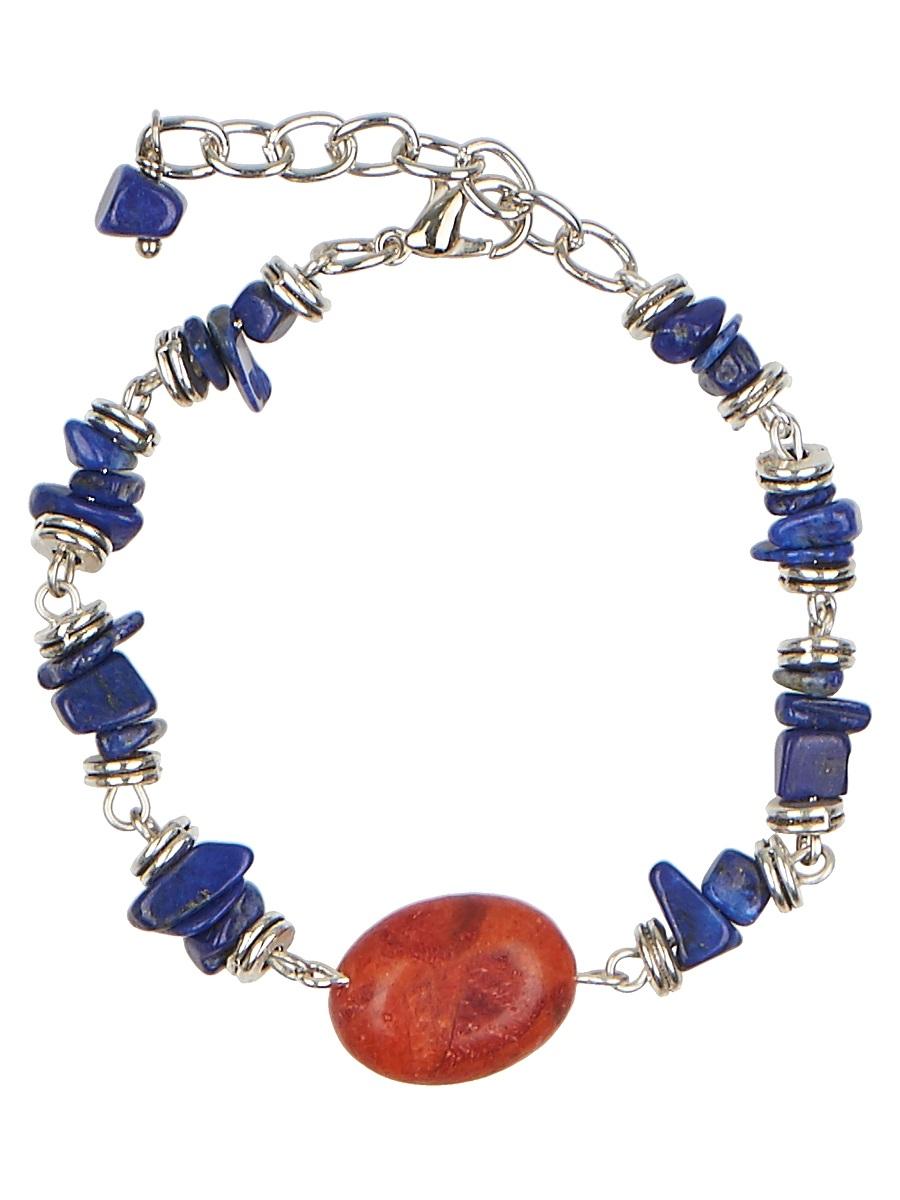 Браслет Polina Selezneva, цвет: синий, коричневый. 002-2947002-2947Браслет выполнен из лазурита, чередующегося с фурнитурой из серебристого сплава, крупная бусина коралла, расположенная в центре, придает браслету особую уникальность.
