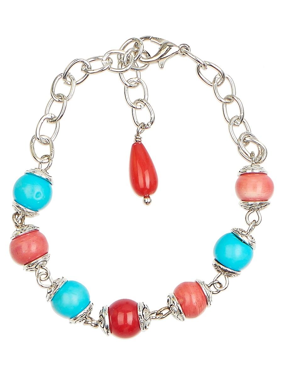 """Браслет Polina Selezneva """"Конфетти"""", цвет: синий, коралловый, голубой. 002-2962"""