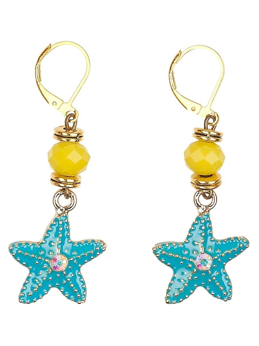 Серьги Polina Selezneva Океан, цвет: желтый, бирюзовый. 004-1064004-1064Серьги Океан выполнены из кристаллов с подвеской из сплава в форме морской звезды.