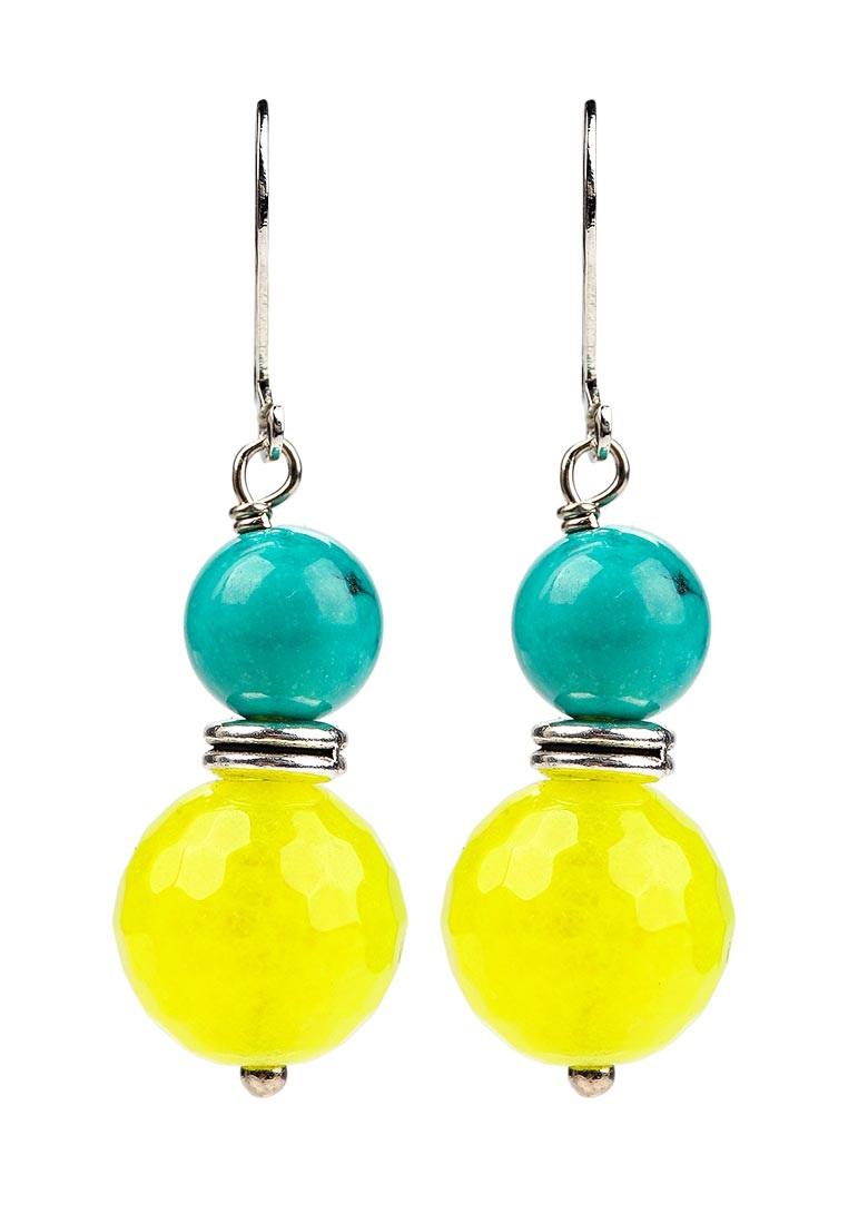 Серьги Polina Selezneva, цвет: бирюзовый, желтый. 004-1066004-1066Серьги выполнены из гавлита, агата и сплава.