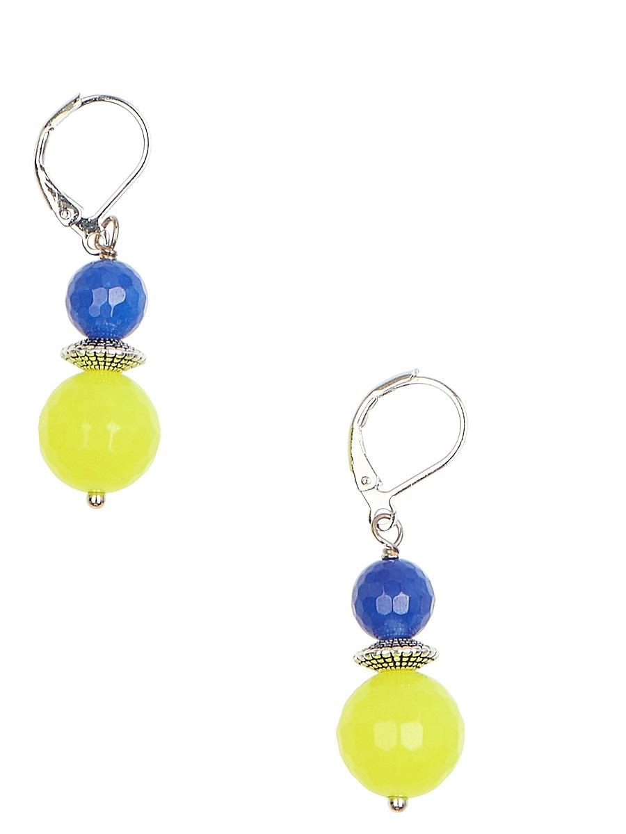 Серьги Polina Selezneva Шарики, цвет: желтый, синий. 004-1075004-1075Серьги Шарики выполнены из сплава и агата ярко-желтого и синего цветов различных размеров, расположенных друг над другом.