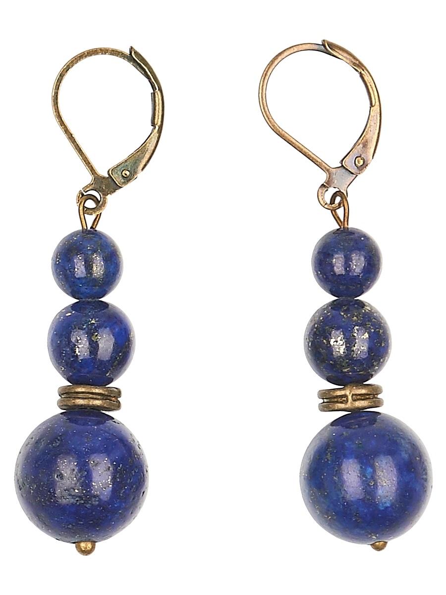 Серьги Polina Selezneva Шарики, цвет: синий. 004-1095004-1095Серьги Шарики выполнены из сплава и шариков лазурита различного размера, расположенных друг над другом.