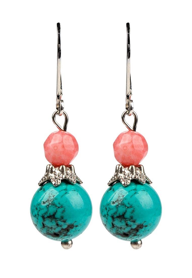 Серьги Polina Selezneva, цвет: бирюзовый, коралловый. 004-1098004-1098Серьги выполнены из гавлита,коралла и сплава.