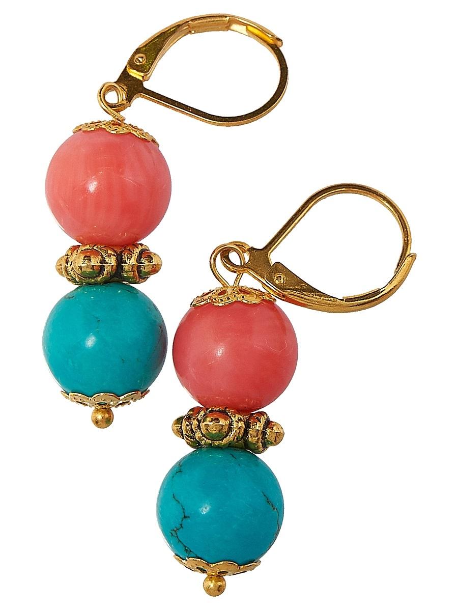Серьги Polina Selezneva Шарики, цвет: коралловый, бирюзовый. 004-1103004-1103Серьги Шарики выполнены из сплава и шариков коралла и гавлита различных размеров, расположенных друг над другом.