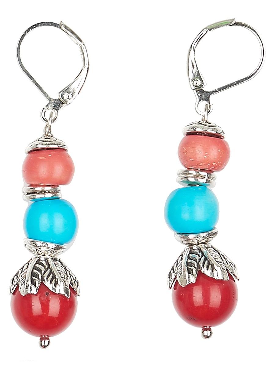 Серьги Polina Selezneva Шарики, цвет: красный, голубой, коралловый. 004-1118004-1118Серьги Шарики выполнены из сплава и шариков коралла и кости различных размеров, расположенных друг над другом.