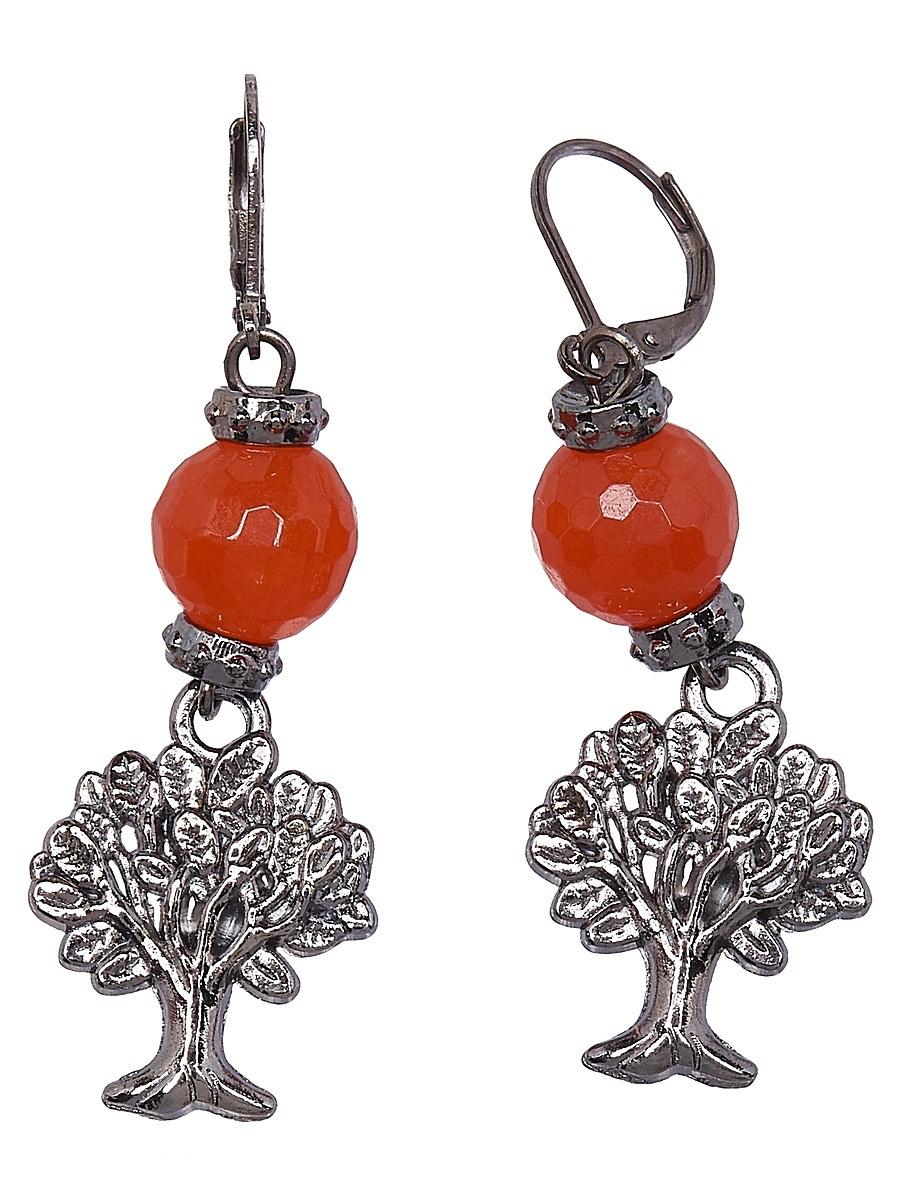 Серьги Polina Selezneva, цвет: оранжевый. 004-1159004-1159Серьги выполнены из агата и сплава.
