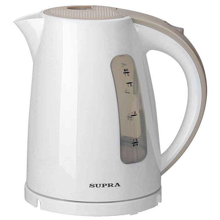 Supra KES-1726, White Beige электрический чайникKES-1726 white/beigeЧайник Supra KES-1726 мощностью 2200 Вт и объемом 1,7 л позволит легко и быстро вскипятить воду для любимых горячих напитков. Компактная модель совмещает в себе все важные функции, которые позволят комфортно пользоваться чайником. Устройство автоматически отключается, когда вода в нем закипает и не включается, если воды в чайнике недостаточно. Более того, во время работы чайника горит соответствующий индикатор, а при помощи специальной шкалы на корпусе устройства вы всегда будете знать, хватит ли воды для чая. Удобство использования чайника дополняется стильным дизайном. Именно поэтому данная модель прекрасно смотрится в любом кухонном интерьере.