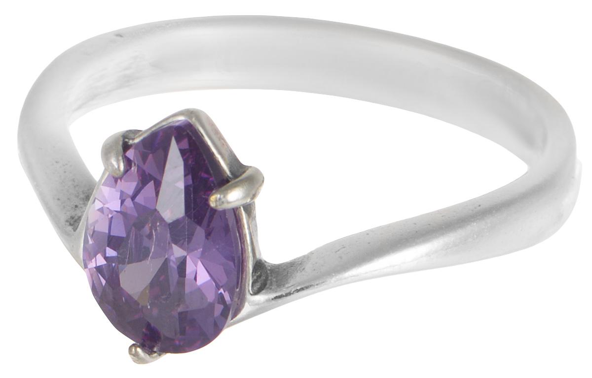 """Кольцо Jenavi """"Циркония. Чиос"""", цвет: серебристый, фиолетовый. r66530a5. Размер 16"""