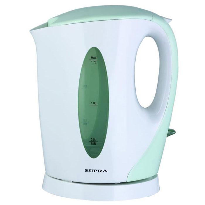 Supra KES-1702, Pistachio электрический чайникKES-1702 pistachioЕсли вам нужен простой и недорогой электрочайник, тогда Supra KES-1702 - идеально подходящая для вас модель. Корпус рассчитан на кипячение до 1,7 л воды за один раз. Этого хватит, чтобы напоить горячими напитками всю семью. Независимо от того, какой стороной к вам повернут корпус, с двухсторонним индикатором уровня вы легко определите количество налитой воды. Встроенный фильтр препятствует проникновению накипи в вашу чашку, а благодаря съемной конструкции его легко чистить от загрязнений.