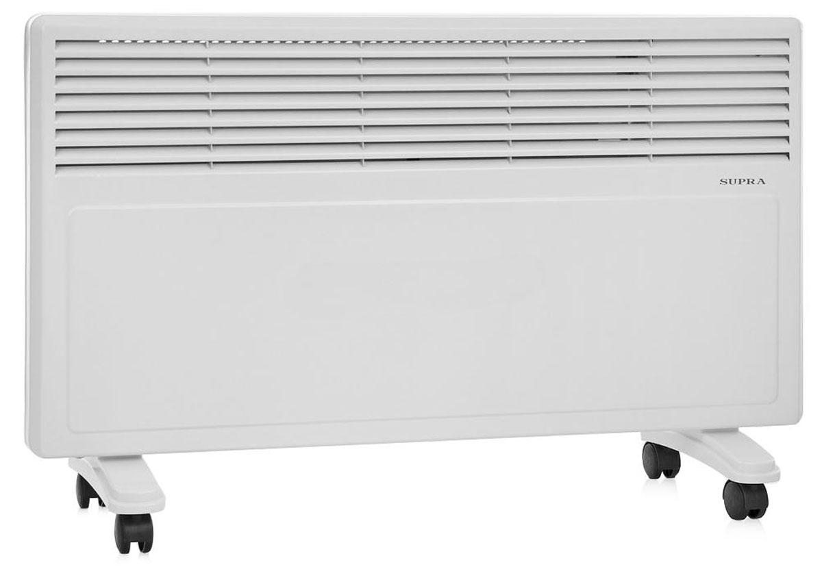 Supra ECS-420, White обогревательECS-420 whiteSupra ECS-420 - это электрический обогреватель конвективного типа. Холодный воздух, проходя через прибор и его нагревательный элемент, нагревается и выходит сквозь решетки-жалюзи, незамедлительно начиная обогревать помещение. Вся конструкция Supra ECS-420 направлена на равномерное распределение тепла для обогрева с максимальным комфортом. Бесшумная работа. В комплекте монтажная планка для настенного крепления и колёсики для напольного размещения и удобного перемещения.