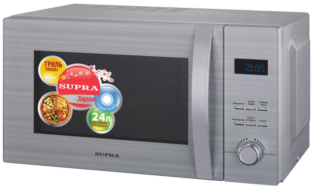 Supra MW-G2424TS СВЧ-печьMW-G2424TSМикроволновая печь Supra MW-G2424TS предназначена для быстрого приготовления или быстрого подогрева пищи, а также для размораживания продуктов. Supra MW-G2424TS с пятью режимами мощности проста в использовании, оснащена восемью автоматическими программами, режимом разогрева блюд одним касанием, режимом разморозки и звуковым сигналом об окончании приготовления. Управление электронное. Компактная микроволновая печь со стильным дизайном отличается высоким качеством сборки, прочностью и надежностью, станет неизменным атрибутом на вашей кухни.