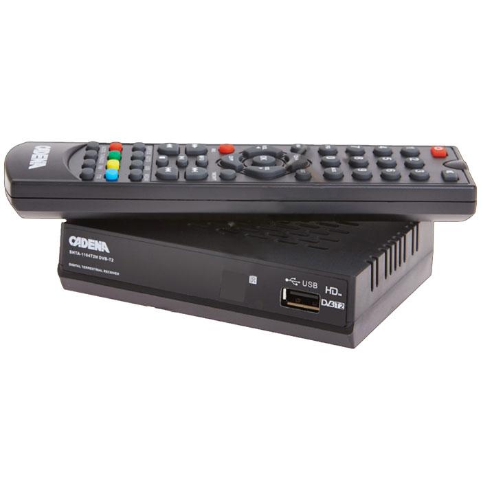 Cadena 1104T2N DVB-T2 ТВ-тюнерCADENA 1104T2NПриемник Cadena 1104T2N DVB-T2 предназначен для просмотра бесплатного цифрового эфирного телевидения высокого качества. Высокочувствительный тюнер обеспечивает стабильное качество принимаемого сигнала. При подключении внешнего USB устройства можно записывать транслируемые телевизионные каналы, а так же воспроизводить мультимедийные файлы и изображения на телевизор. Приемник имеет HDMI выход, при помощи которого можно выводить на телевизор изображение в формате высокой четкости HD 1080p, также выполнить подключение к телевизору можно и при помощи аналогового RCA выхода. Поддержка субтитров, телетекста, электронной программы передач (EPG). Формат видео: DivX, MKV, MOV, MP4 Формат аудио: MP3 Поддержка графических форматов: JPG