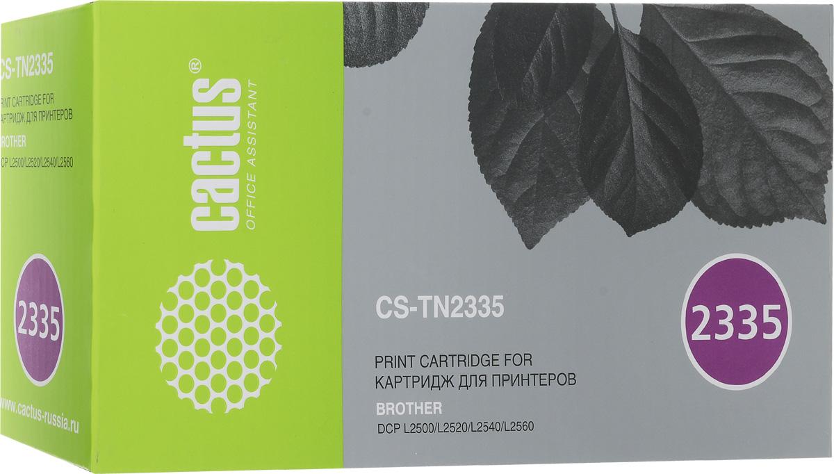 Cactus CS-TN2335, Black тонер-картридж для Brother DCP L2500/L2520/L2540/L2560CS-TN2335Картридж Cactus CS-TN2335 для лазерных принтеров Brother DCP L2500/L2520/L2540/L2560. Расходные материалы Cactus для лазерной печати максимизируют характеристики принтера. Обеспечивают повышенную четкость цветов и плавность переходов оттенков и полутонов, позволяют отображать мельчайшие детали изображения. Обеспечивают надежное качество печати.