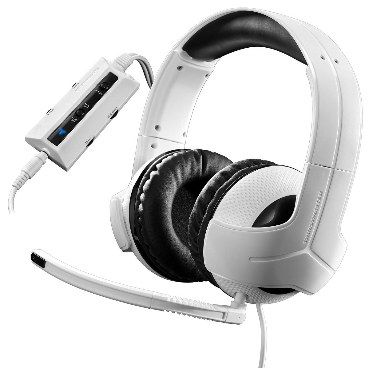 Thrustmaster Y300CPX игровая гарнитура для PS4 (4060077)THR45Универсальная гарнитура для полной совместимости Оптимизированная гарнитура с полной поддержкой PlayStation 4, PlayStation 3, Xbox One, ПК, Xbox 360 и Mac. Совместимость также с Nintendo Wii U / Nintendo 3DS /PlayStation Vita / планшетами / смартфонами (с поддержкой вызовов). Аудиопревосходство Реальные 50-мм динамические головки, обеспечивающие кристально чистый звук: все слышать — быстро реагировать! Восприятие звука реальнее, чем в реальной жизни благодаря устойчивой амплитудно-частотной характеристике с превосходным балансом басовых, средних и высоких частот, оптимизированной для игр. Эксклюзивный двойной электроакустический усилитель нижних частот — глубокое воспроизведение басов. Лучшие наработки Thrustmaster в сфере аудио — для нового уровня игровых показателей (при поддержке Hercules и 20-летнего опыта в области аудио). Создано для удобства Уникальный Y-образный дизайн с серебристым декором обеспечивает исключительный комфорт:...