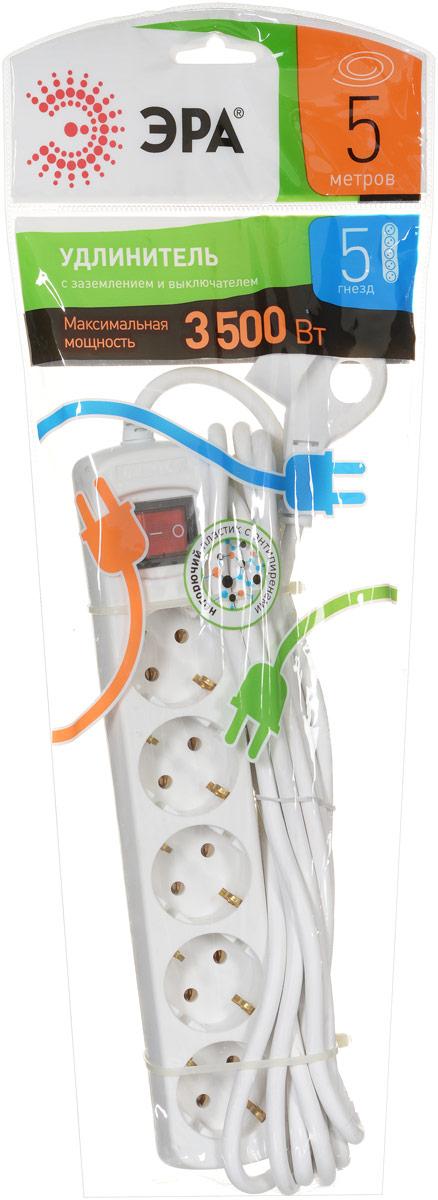Удлинитель ЭРА U-5es-5m, с заземлением, с выключателем, 5 гнезд, 5 м