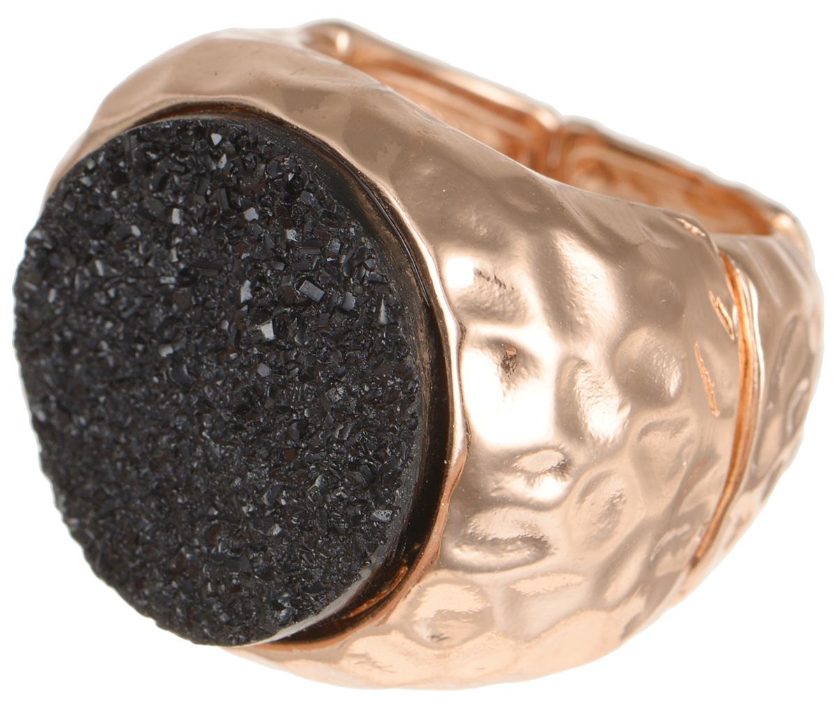 Кольцо Taya, цвет: золотистый, черный. T-B-8157T-B-8157Стильное кольцо Taya выполнено металлического сплава, оформлено оригинальной вставкой из стекла. Эластичная основа делает размер кольца универсальным. Оригинальное кольцо Taya превосходно дополнит ваш образ и подчеркнет отменное чувство стиля своей обладательницы.