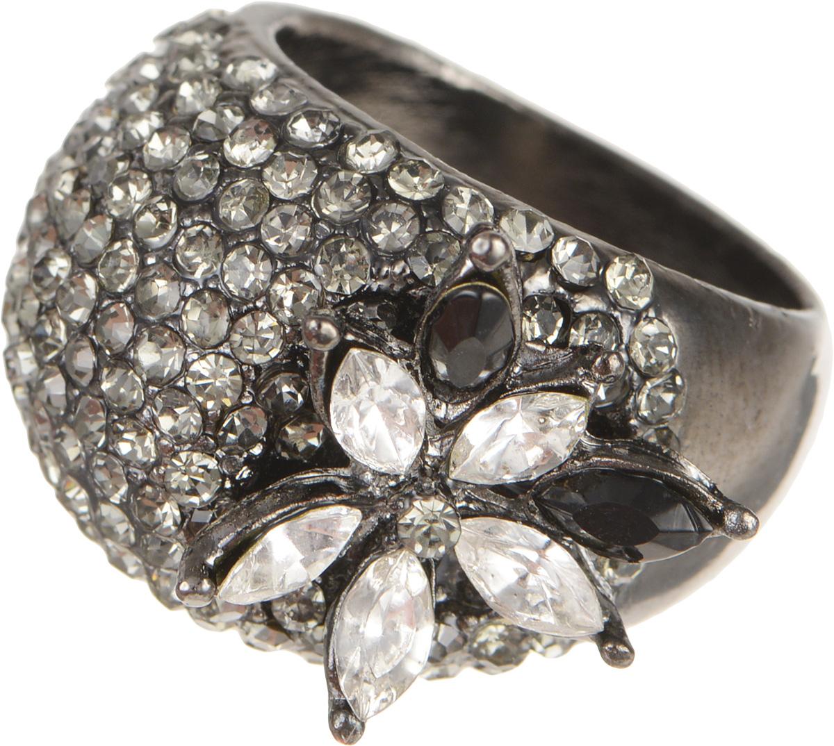 """Кольцо Fashion House """"Орнела"""", цвет: черненое серебро, черный. Размер 19"""