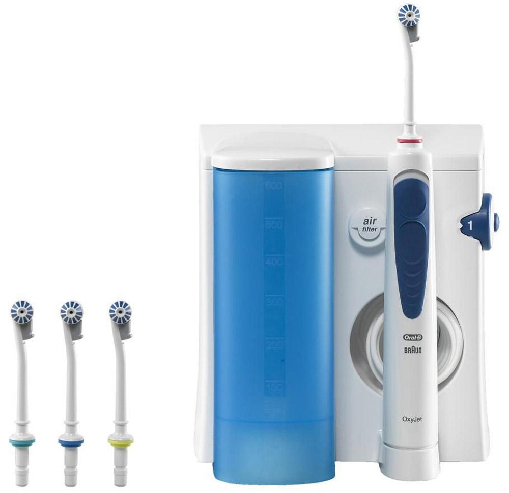 Oral-B Professional Care OxyJet MD20 ирригатор4210201378617Ирригатор – гидромассажер для очищения полости рта струей воды, который позволяет качественно удалять остатки пищи из межзубного пространства, а также бережно массировать дёсны и слизистую полости рта. - Зачастую труднодоступные участки и межзубное пространство, составляющие большую часть полости рта, остаются плохо очищенными. Это влечёт за собой не только появление неприятного запаха изо рта, изменения цвета эмали, но и более серьезных проблем. Применение для гигиены полости рта ирригатора Oral-B Professional Care OxyJet помогает максимально эффективно проводить профилактику возможных проблем. - Процентное соотношение воды и воздуха в ирригаторах OxyJet 95:5 соответственно. Микропузырьки в струе воды уменьшают количество бактерий и микробов во рту, защищая тем самым от налёта и воспаления дёсен. - Ирригатор Braun Oral-B Professional Care OxyJet имеет два режима работы: монопоток и турбопоток: Монопоток – это прямой направленный поток для чистки...
