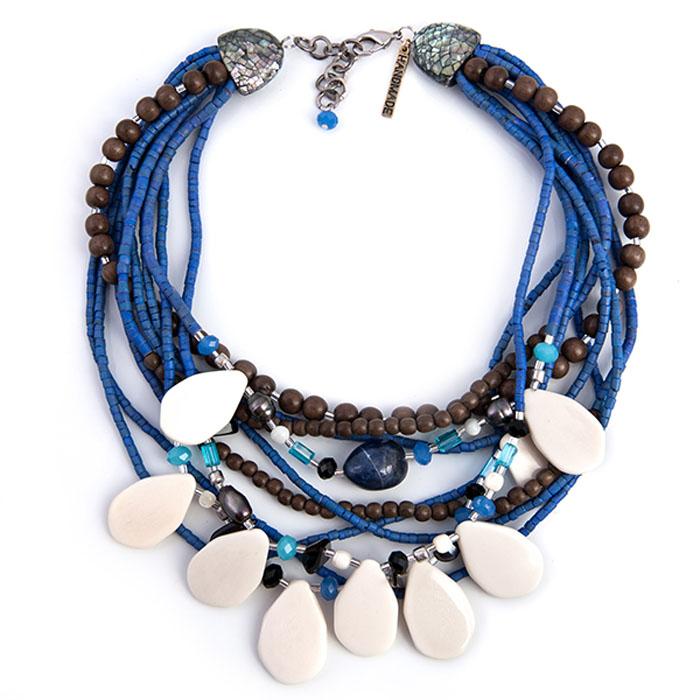 Колье Selena Enigma, цвет: белый, коричневый, синий. 1008465110084651Пальмовое дерево, ювелирная смола, морская ракушка, лазурит, раухтопаз, ювелирное стекло. Гальваническое покрытие: родий, длина колье 45-50 см ширина 5 см