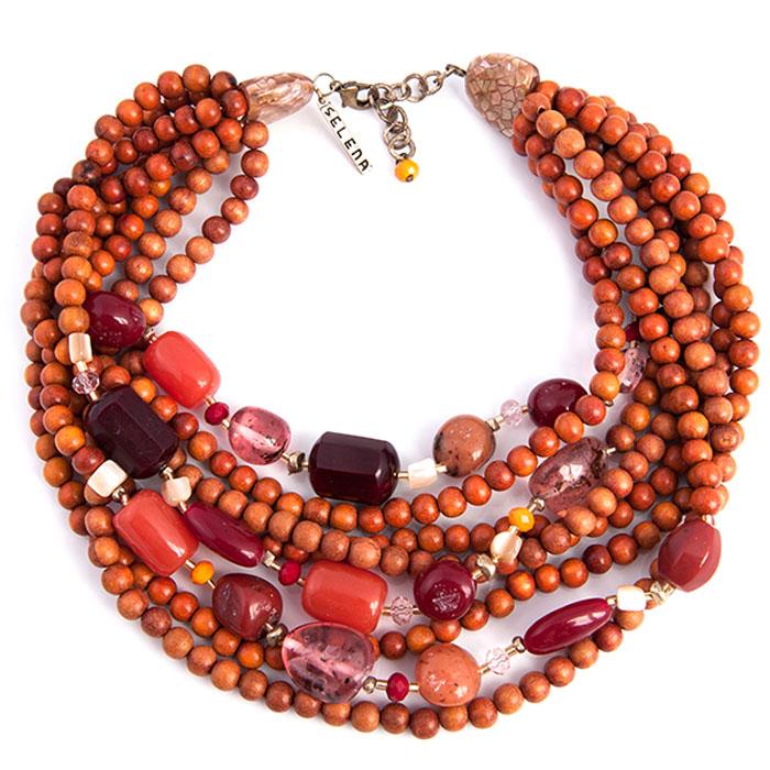 Колье Selena Enigma, цвет: коралловый, коричневый, оранжевый. 1008469110084691Пальмовое дерево, ювелирная смола, ювелирное стекло. Гальваническое покрытие: золото, длина колье 45-50 см ширина 7 см