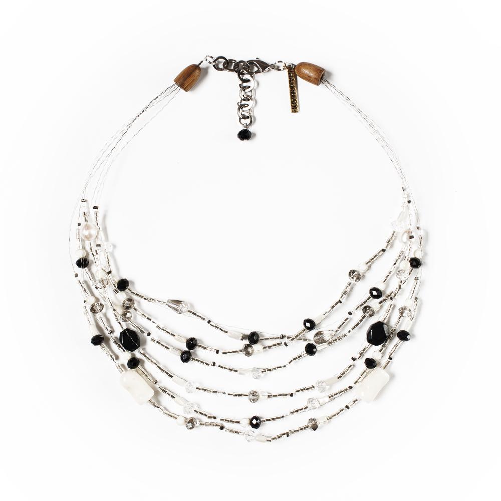 Колье Selena Enigma, цвет: черный. 1009266110092661Ювелирная смола, пальмовое дерево, искусственный жемчуг, бисер, кристаллы Preciosa. Гальваническое покрытие: родий, длина колье 50-55 см ширина 4 см