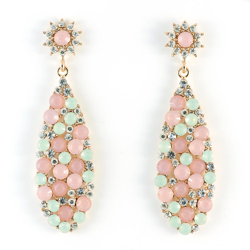 Серьги Selena Street Fashion, цвет: розовый. 2009028020090280Кристаллы Preciosa, латунь. Гальваническое покрытие: золото, длина серег 7 см ширина 2 см