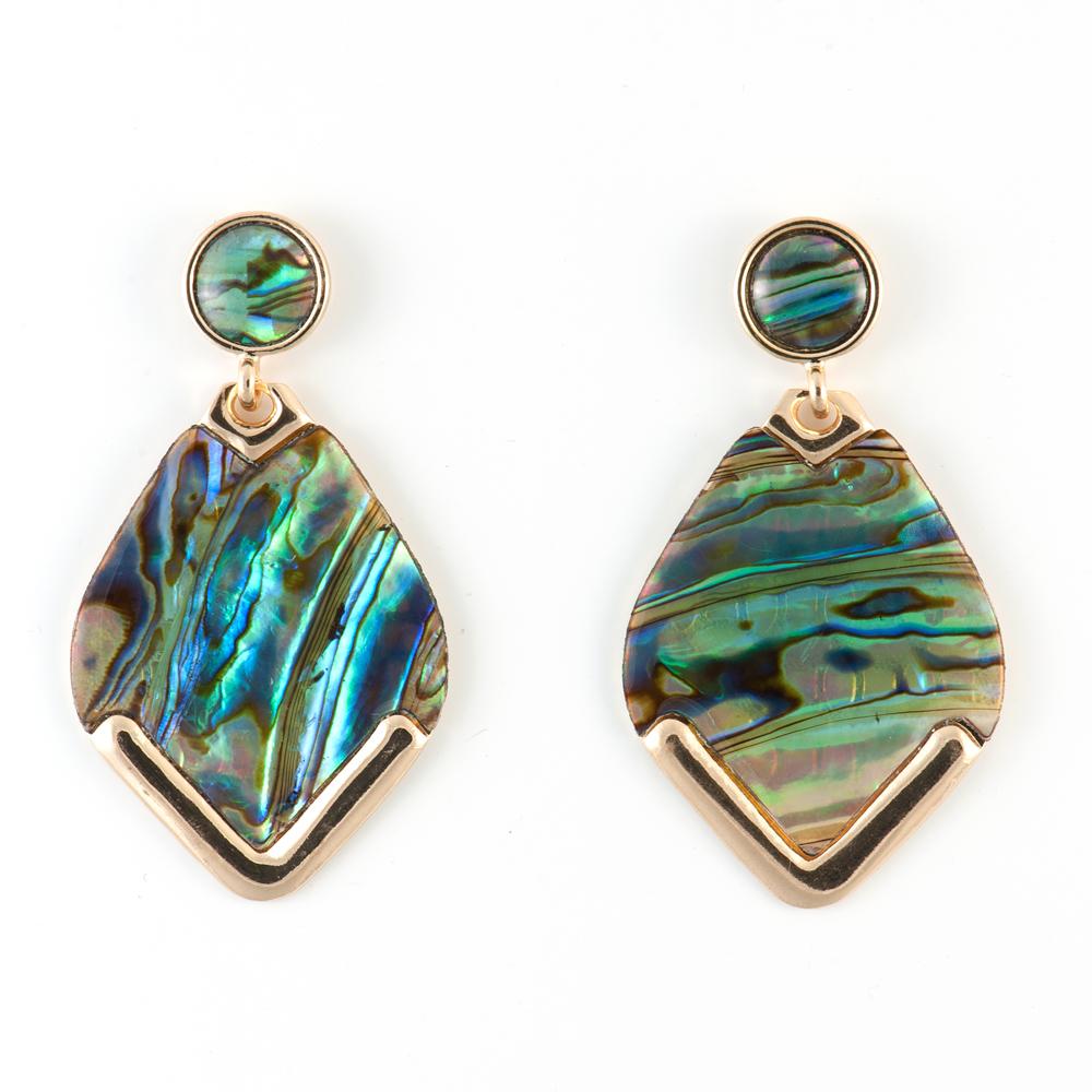 Серьги Selena Street Fashion, цвет: зеленый. 2009035020090350Натуральный перламутр, латунь. Гальваническое покрытие: золото, длина серег 5.5 см ширина 3 см