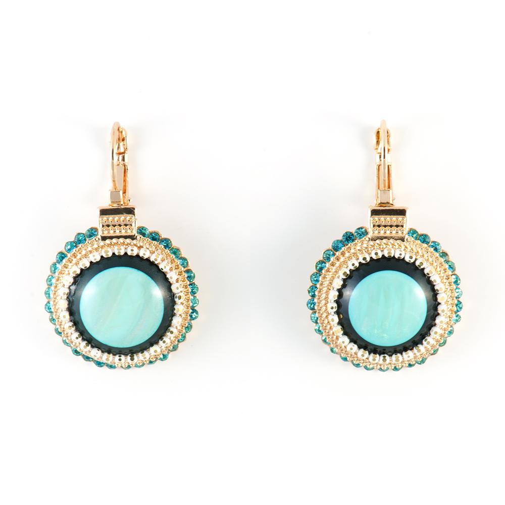 Серьги Selena Street Fashion, цвет: бирюзовый. 2009045020090450Ювелирная смола, кристаллы Preciosa, латунь. Гальваническое покрытие: золото, длина серег 4 см ширина 2.5 см