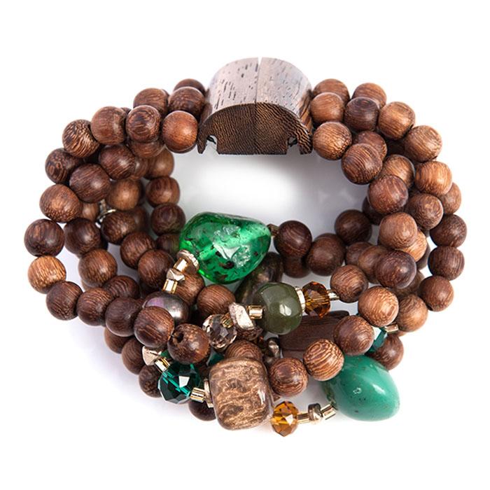 Браслет Selena Enigma, цвет: зеленый, коричневый. 4005013040050130Пальмовое дерево, ювелирная смола, ювелирное стекло. Гальваническое покрытие: золото, длина браслета 22 см 5 см