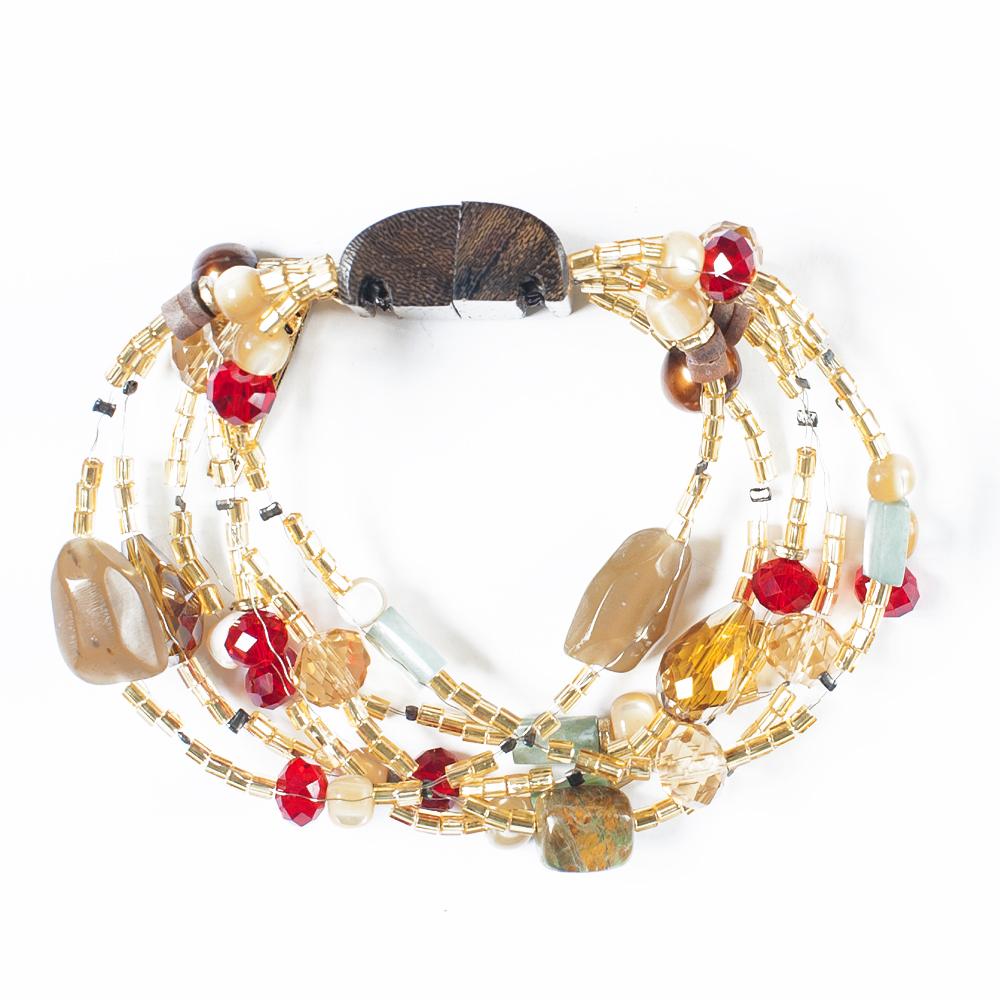 Браслет Selena Enigma, цвет: золотистый, коричневый, красный. 4005481040054810Ювелирная смола, нефрит, пальмовое дерево, искусственный жемчуг, ювелирная смола, бисер, кристаллы Preciosa. Гальваническое покрытие: золото, длина браслета 22 см ширина 4 см