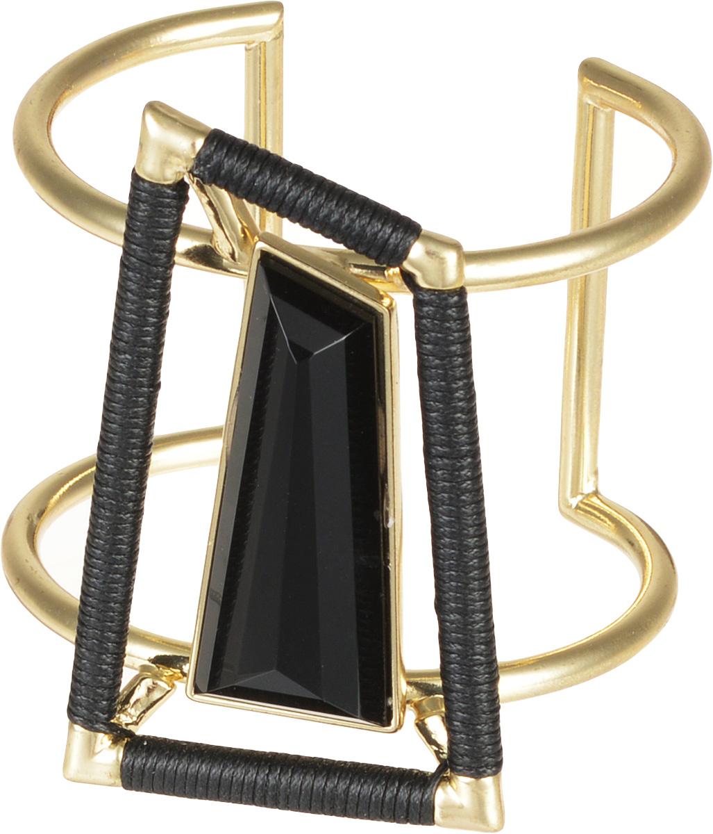 Браслет Selena Street Fashion, цвет: золотой, черный. 4005744040057440Стильный браслет Selena Street Fashion изготовленный из гипоаллергенного материала, выполнен из металла c золотым покрытием и текстиля. Представляет собой изящный широкий браслет универсального размера, дополненный по центу декоративным элементом со вставкой из хрустального стекла. Такой оригинальный браслет не оставит равнодушной ни одну любительницу изысканных и необычных украшений, а также позволит с легкостью воплотить самую смелую фантазию и создать собственный, неповторимый образ.