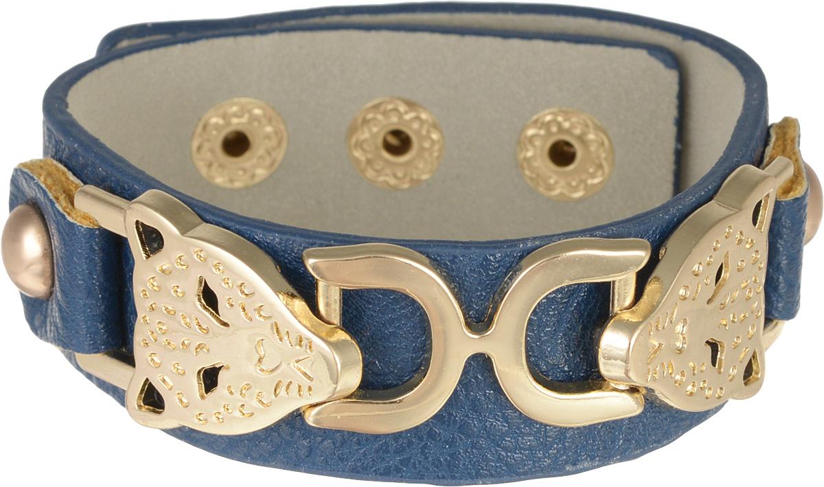 Браслет Taya, цвет: синий. T-B-795T-B-7951-BRAC-D.BLUEОригинальный браслет Taya выполнен в виде основы из искусственной кожи с зернистой фактурой, которая оформлена оригинальным элементом из металлического сплава. Изделие застегивается на кнопку, длина регулируется за счет дополнительных кнопок. Стильный браслет придаст вашему образу изюминку, подчеркнет красоту и изящество вечернего платья или преобразит повседневный наряд.